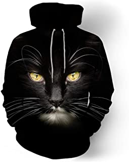 3D Hoodies, Men Hooded Sweatshirts Cat 3D Print Hoody Casual Pullovers Streetwear Tops Autumn Regular Size M-2XL (Color : Black, Size : L)