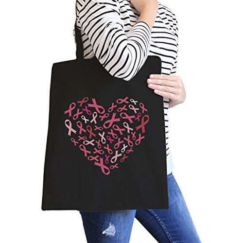 365 Printing Heart Pink Ribbon Canvas Tote Black Cute Canvas Shoulder Bag Gift