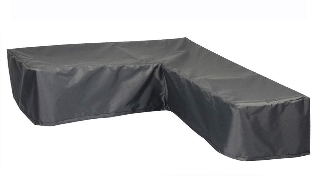Hentex Cover Loungemöbel Abdeckhaube für L-Form Sofas,Wasserdichtes Atmungsaktives TPU Gewebe Abdeckhaube für Gartenmöbel ,Wasserdicht Schutz vor Wind UV schützende (Grau (255  255  90W65 90H cm)