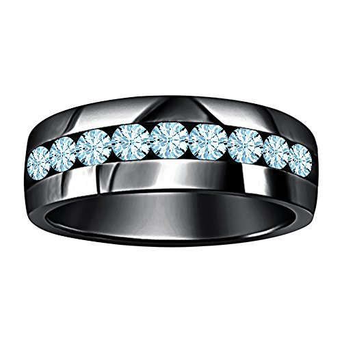 SVC-JEWELS 14k Black Gold Plated Round Cut Created Blue Aquamarine 9-Stone Men's Wedding Band Anniversary Ring