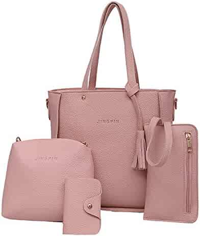 6928bfe4989f Women Four Set Handbag Shoulder Bags Four Pieces Tote Bag Crossbody Wallet