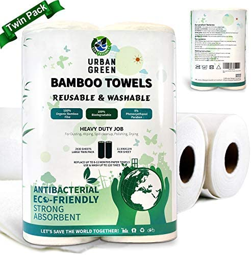 Reusable Bamboo Towels by means of Urban Green, Large measurement 2 rolls 60 sheets (Heavy Duty), Reusable, Washable, Biodegradable, Paper Towels Replacement