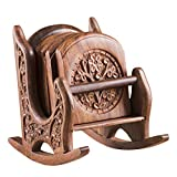 Rusticity Cool Wood Coaster Set of 6 - Rocking Chair| Handmade | (3.25x3.25 in)