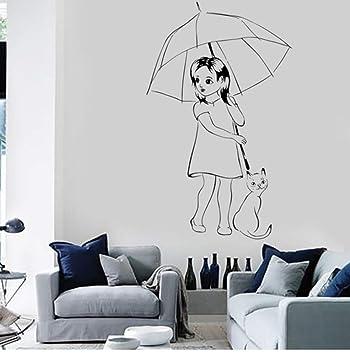 Sgbfz Chica con gato pegatinas de vinilo de pared y paraguas pegatinas de pared románticas decorativas