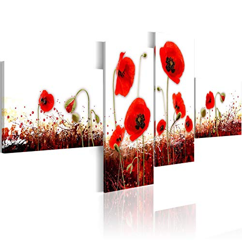 Printed Poppies Modern (Red Flower Prints Canvas Wall Art Decor White Background Printed Floral Painting Framed 4 Panels Poppies Picture Modern Artwork Home Office Decorations for Living Room Ready to Hang)