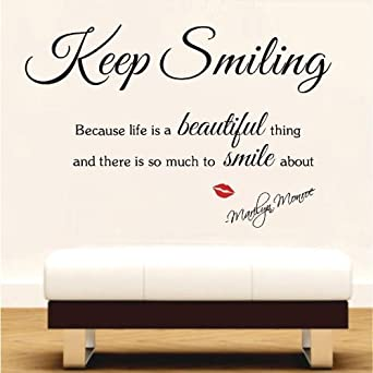 MARILYN MONROE Wall Sticker Decal Art Decor Keep Smiling Life Is - Wall stickers art