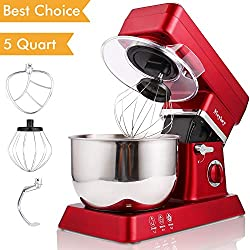 Stand Mixer, 600W Tilt-Head Kitchen Electric Food Mixer with 6-Speed Control, 5-Quart Stainless Steel Bowl, Dough Hook, Whisk, Beater, Splash Guard (red)