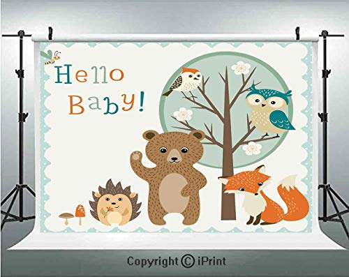 - Kids Photography Backdrops Hello Baby Arrival Funny Hedgehog Bee Owls Birds on Tree Bear Fox Animals Themed Party Home Decor,Birthday Party Background Customized Microfiber Photo Studio Props,8x8ft,
