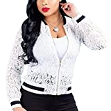 Womens See Through Lace Patchwork Long Sleeve Zip up Bomber Jacket Short Coat Tops White XL