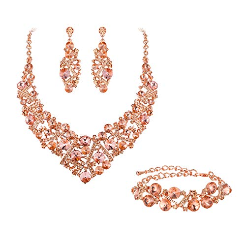 Flyonce Women's Austrian Crystal Wedding Luxury Floral Filigree Necklace Earrings Set Champagne Color Rose Gold-Tone