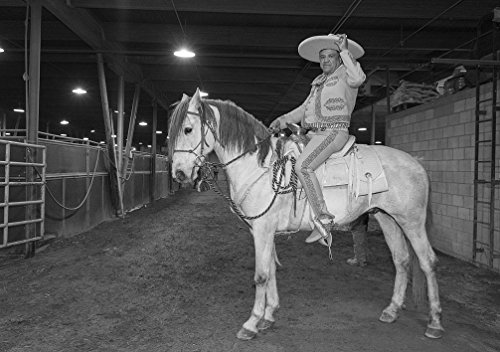 24 x 36 B&W Giclee Print Charro Mexican Cowboy, Jesus Casellas, Pauses Between perforamances at The Mexican Rodeo Extravaganza, Part The National Western Stock Show festiv 2016 Highsmith -