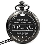 LEVONTA Dad Gifts for Dad Birthday Gifts Personalized Pocket Watch with Chain (to Dad)