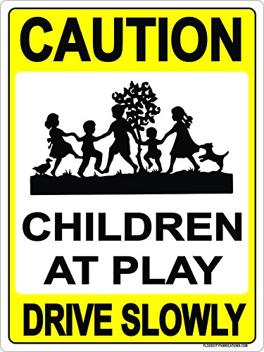 Slow Children At Play Sign Metal outdoor 9x12 CAUTION Drive Slowly Kids playing outside (Playground Safety Signs)