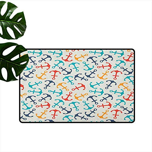 Anchor,American Floor mats Anchor Shape in Lines Tropics Getaway Ship Cruise Transport Repeating Tile 31
