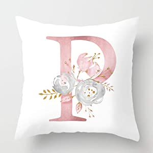 vctops Flowers Printed Throw Pillow Covers Alphabet Decorative Pillow Cases ABC Letter Cushion Covers 18 X 18 Inch Square Pillow Protectors for Sofa Couch Bedroom White P