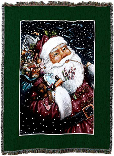 Pure Country Weavers - Smoking Santa Woven Tapestry Throw Blanket with Fringe Cotton USA 72x54