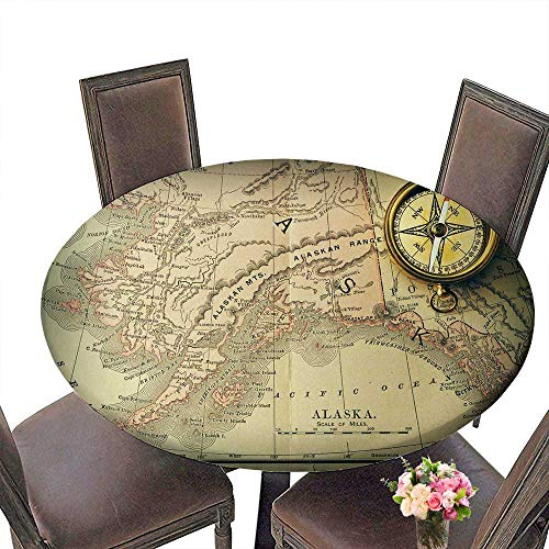PINAFORE Modern Simple Round Tablecloth Antique Brass Compass Over Old XIX Century map Decoration Washable 50