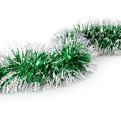 Treasures Gifted Frosted Tip Christmas Garland Celebrate a Holiday Green Tinsel New Years Eve Indoor and Outdoor Tree Decorations Greenery for Enchanted Forest