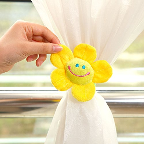 ZWB Adorable Lovely Cute Sunflower Tieback with Smile Face Flexional Buckle Plush Curtain Tie Backs Home Decoration 1Pair (2 Pieces) (Face Buckle)