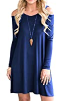 Moskill Plus Size Long Sleeve Loose Cold Shoulder Swing T Shirt Dress For Women With Pockets