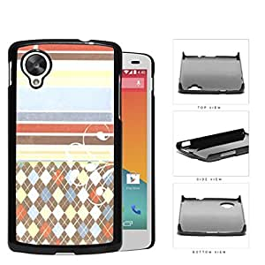 Colorful Washed Out Old Vintage Stripes and Diamonds Pattern Hard Snap on Phone Case Cover Lg Google Nexus 5