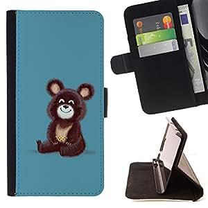 BullDog Case - FOR/Apple Iphone 4 / 4S / - / Cute Funny Russian Bear /- Monedero de cuero de la PU Llevar cubierta de la caja con el ID Credit Card Slots Flip funda de cuer