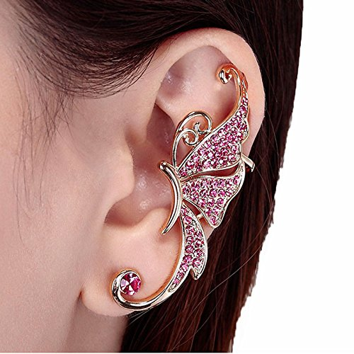 NUWFOR Women's Fashion Cute Jewelry Crystal Butterfly Wings Ear Clip Clamp Earring White(Pink) by NUWFOR (Image #3)