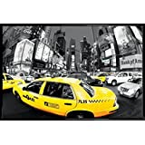 New York Poster and Frame (Plastic) - Yellow Cabs, Rush Hour On Times Square (36 x 24 inches)