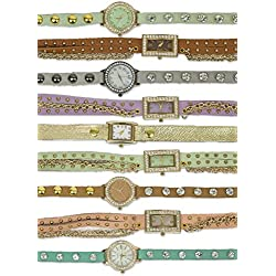 Sexy Basics Women's Juniors 4 Pack Wrap Around Leather Watch Time Piece Collection