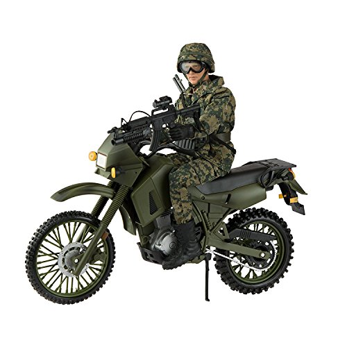 10 Scale Action Figure (Army Men by World Peacekeepers Action Figures: 30-Pt. Full-Motion 12-Inch Army Toys w/ Military Dirt Bike, Ninja Grip, Shotgun & M4 w/ Grenade Launcher (Sentry))