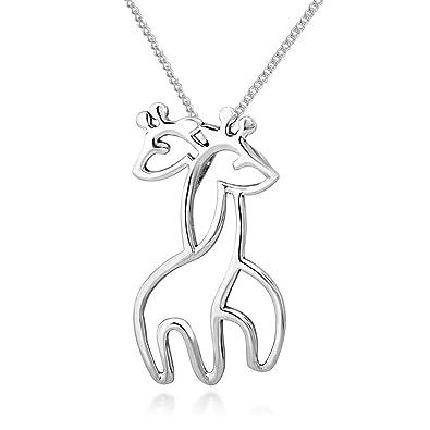 Amazon 925 sterling silver twin hugging giraffe pendant 925 sterling silver twin hugging giraffe pendant necklace 18quot aloadofball Choice Image