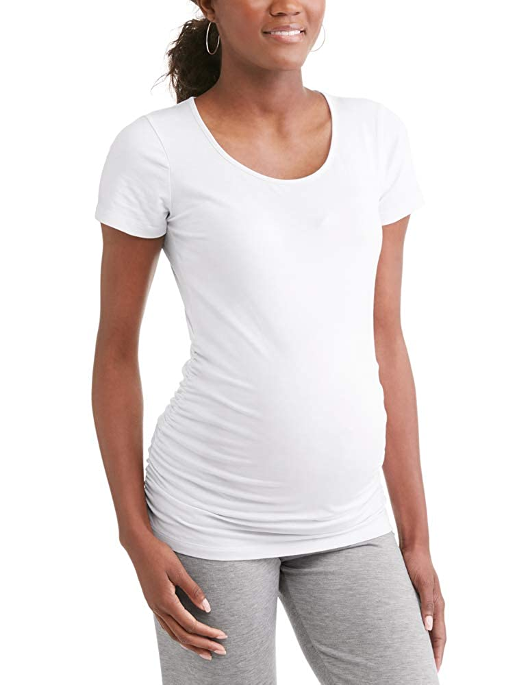 RUMOR HAS IT Maternity Ruched Sides Scoop Neck Short Sleeve T-Shirt Top (Available in Plus Sizes)