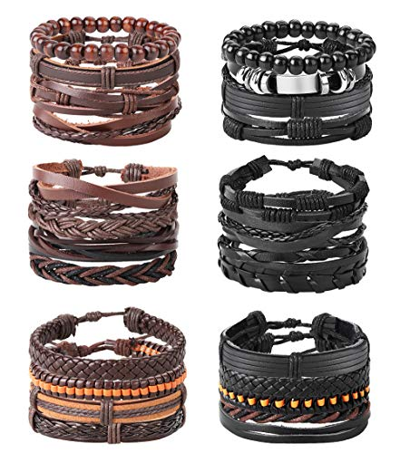 Adramata 24 PCS Braided Leather Bracelets Set for Men Black Brown Cuff Wrap Set Adjustable