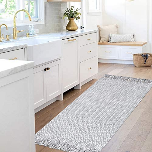 Light Gray Cotton Rug, 2 x4.3 Woven Rug Kitchen Rug, Grey Rug with Tassels, Fringe Rug for Doorway, Bedroom, Living Room, Laundry