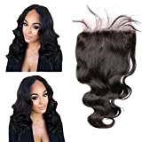 Lace Closure 5x5 Body Wavy Lace Piece Bleached Knots Closure Free Part Malaysian Human Hair (12''Free Prat, 4# Medium Brown)