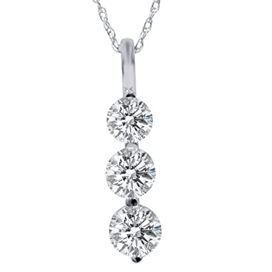 Amazon 1ct three stone diamond pendant 14k white gold pendant 1ct three stone diamond pendant 14k white gold aloadofball