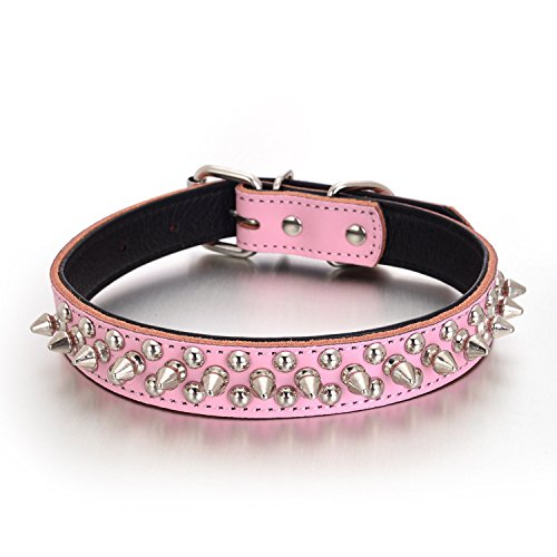Rachel Pet Products Rivet Spiked Studded Genuine Leather Dog Collar for Small or Medium Pet, Pink, L
