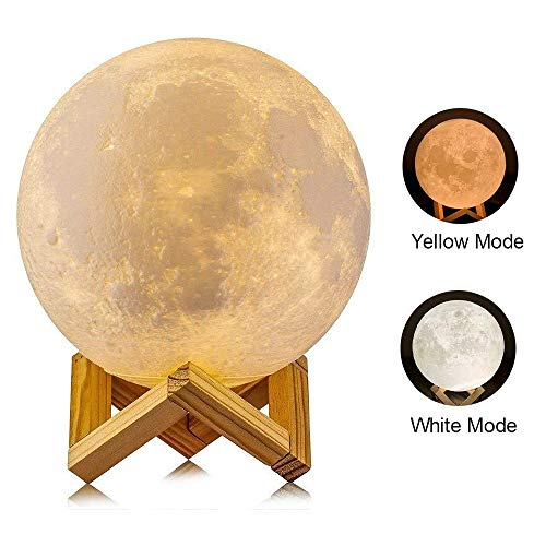 LYLYFAN 3D Moon Lamp, 3D Moon Lamp with Stand 5.9 inch Moon Lamp Lunar Moon Lamp Night Light for Kids -