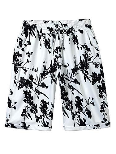 Women's Casual Elastic Waist Knee Length Curling Bermuda Shorts Black Floral - 4XL ()
