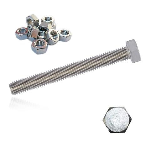 100 tornillos hexagonales + tuercas A2 M8 x 100 de acero ...