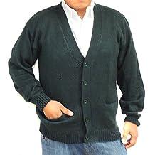 CARDIGAN alpaca V neck button and pockets mens daark green