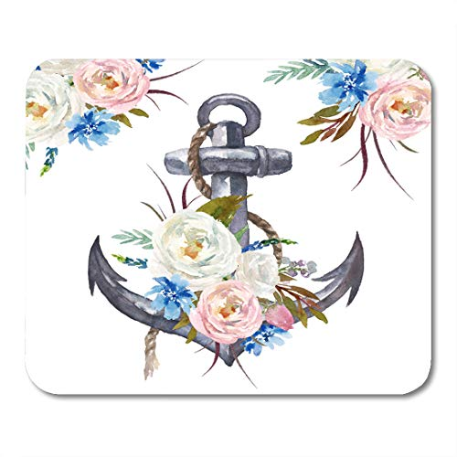(Semtomn Mouse Pad Watercolor Nautical Marine Floral Anchor Rope and Flower Bouquet Mousepad 9.8