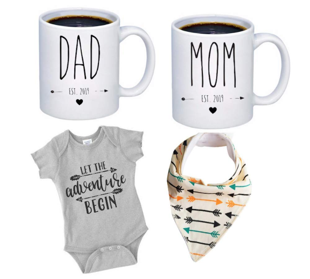 Pregnancy Gift Est 2019 - New Mommy and Daddy Est 2019 11 oz Mug Heart Set with''Let Adventurer Begin'' Romper (0-3 Months) - Top Mom and Dad Gift Set for New and Expecting Parents to Be - Baby Shower
