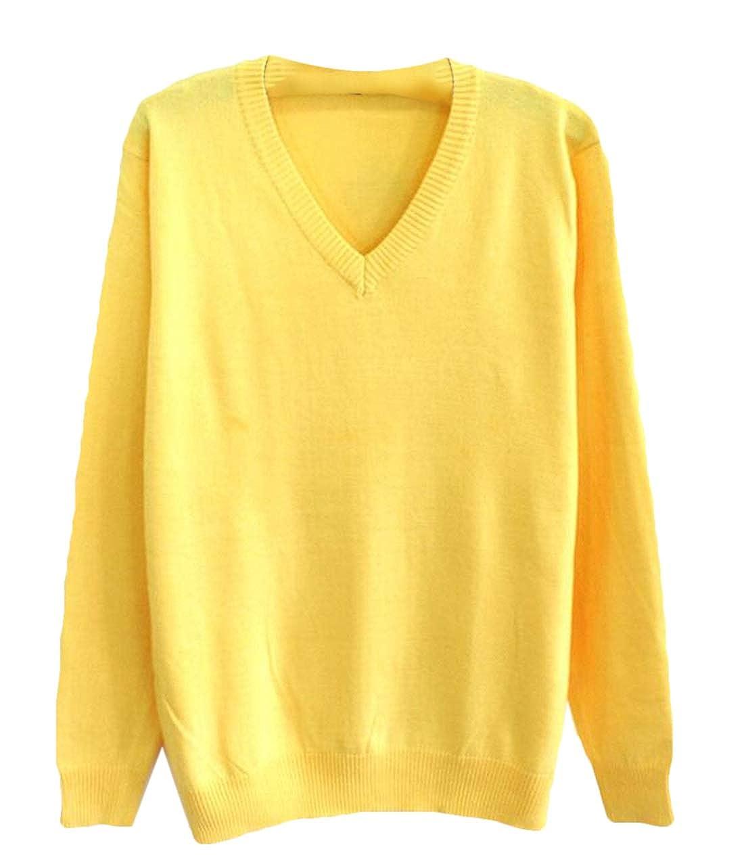 BYWX Men V-Neck Pullover Jumper Solid Color Knitted Slim Fit Long Sleeve Sweater