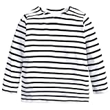 Baby Kids Boys Girls Star Striped Long Sleeve O Rong BFF T-Shirt Tee,White-striped,120(6)