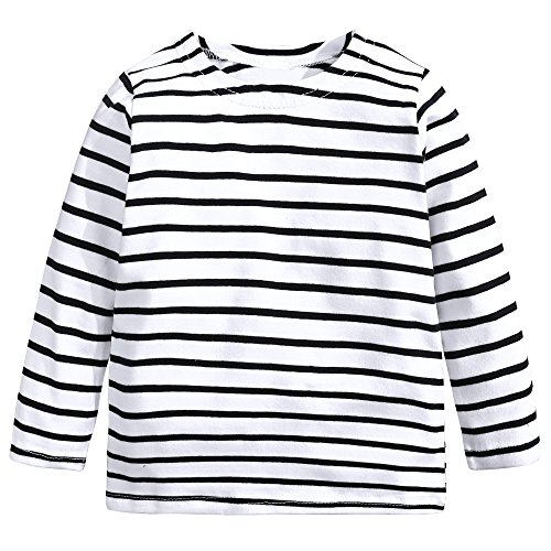 Baby Kids Boys Girls Star Striped Long Sleeve O Rong BFF T-Shirt Tee,White-striped,100(4T) -