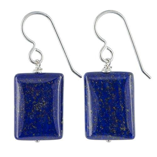 Square Cut Lapis Lazuli Gemstone Sterling Silver Handmade Dangle Drop Earrings by - Square Cut Gems