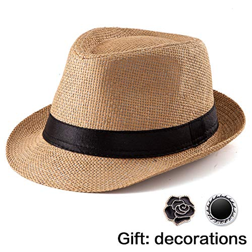 Straw Hat for Women Men - Summer Khaki Fedora Hat with Band Sun Hat for Vacation for $<!--$9.99-->