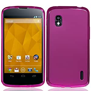 Silicone Skin Soft TPU Gel Cover Case For LG Google Nexus 4 E960, Hot Pink