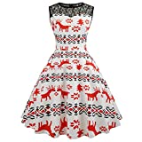 HHei_K Merry Christmas Womens Sexy Crewneck Xmas Reindeer Print Back Zip A-Line Floral Lace Retro Midi Swing Dress